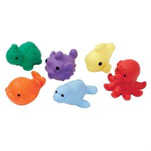Ens. de 6 sacs de fèves en forme d'animaux marins