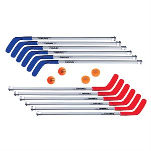 "12 bâtons de hockey 47"" + balles / rondelles"