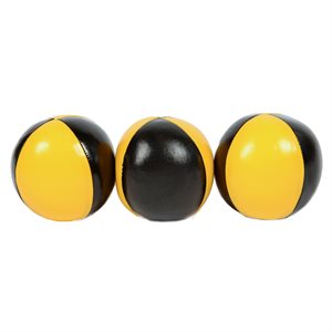 3 balles de jonglerie, jaunes et noires