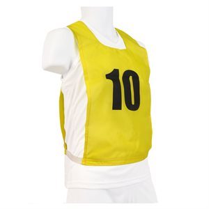 Ens. de 12 dossards numérotés, JR, jaunes