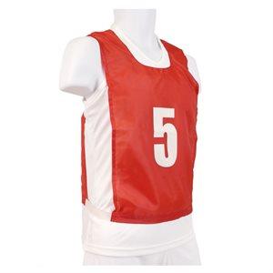 15 dossards numérotés, JR, rouges
