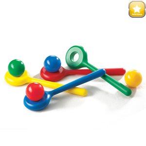 Ens. de 4 boules et cuillères colorées